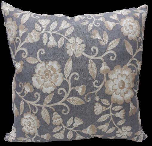 Funda cojín decorativo Flores gris